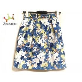 ジャスグリッティー JUSGLITTY スカート レディース 美品 白×ブルー×マルチ 花柄     スペシャル特価 20191028