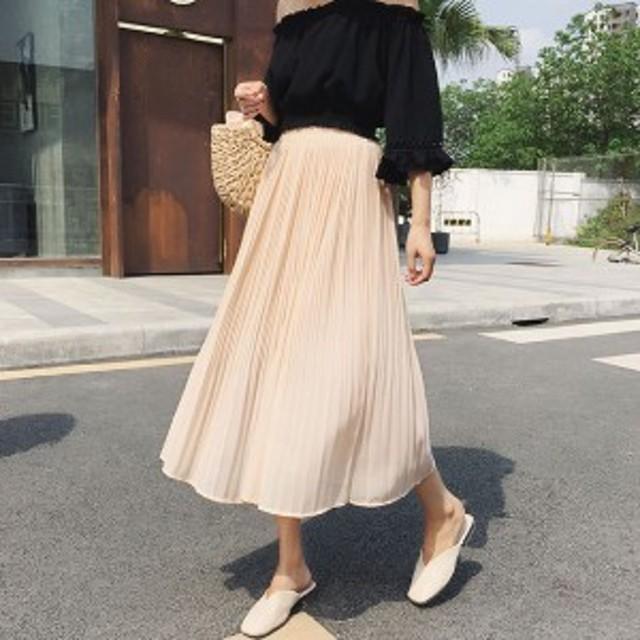 プリーツスカート チュールスカート シフォンスカート フレア カラバリ マキシ丈 ゆったり ボリューム 透け感 きれいめ ナチュラル 上品