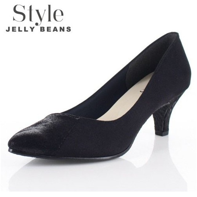 STYLE JELLY BEANS ジェリービーンズ 靴 6158 パンプス ヒール アーモンドトゥ 異素材 黒 ブラック レディース セール