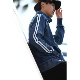 デニムジャケット - improves スウェットデニム ライン ジャージ ジャケット メンズ レディース トラックジャケット 春 アウター セットアップ 上下 可能カットデニム ブルゾン ジャンパー ジャンバー ブルー ネイビー 青 サーフ系 カジュアル ストリート系 メンズフ