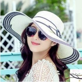 帽子 つば広ハット レディース 紫外線対策 春夏 日よけ リゾート風 新作 UVカット 麦わら サンバイザー 小顔効果 リボン付 砂浜用品 おし