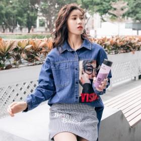 シャツ - luby 春物 デニムシャツ トップス ブラウス 韓国ファッション