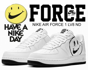 Nike NIKE BQ9044 100 ND AIR FORCE 1 '07 LV8 ND HAVE A NIKE DAY WHITEWHITE BLACK Air Force One '07 エレベイトスニーカーローカットホワイトブラックメンズ