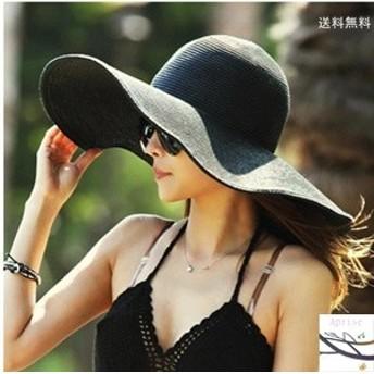 帽子 つば広ハット レディース 砂浜用品 UVカット 紫外線対策 麦わら シンプル 日よけ リゾート風 ビーチハット 新作 折畳み可 小顔効果