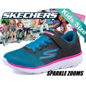 【スケッチャーズ キッズシューズ】SKECHERS GO RUN 400-SPARKLE ZOOMS back/teal【子供 靴 シューズ 女子 ガーリー】