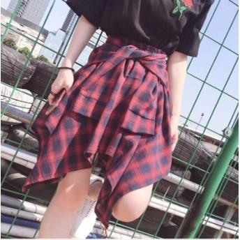 韓国ファッション スカート チェック柄 スカート 春夏 ボトムス レディース 着痩せ ウエストゴム