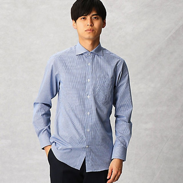 <COMME CA MEN > 【形態安定】ギンガムチェック ドレスシャツ(0708HL14) アオ 【三越・伊勢丹/公式】