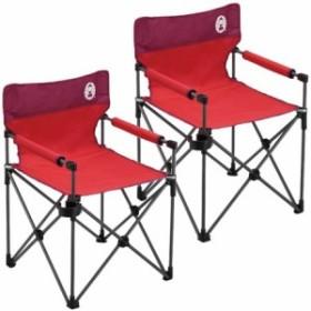 コールマン(Coleman) カップホルダー付きスリムチェア(レッド) 2000010513 計2脚セット! 【キャンプ アウトドア おしゃれ 椅子 運動