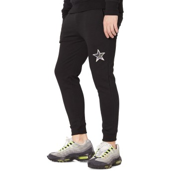 ジョガーパンツ - improves 星ワッペン スウェットパンツ メンズ レディース スリム スエットパンツ ジョガーパンツ スウェット ジャージ セットアップ 上下可能 イージーパンツ テーパード グレー ブラック 黒 サーフ系 カジュアル ストリート系 メンズファッション