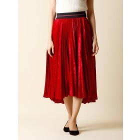 INED L / 《大きいサイズ》ベロアプリーツフレアスカート