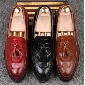 メンズローファーシューズ ビジネスシューズ スリッポン カジュアル革靴 タッセル ワニ柄 ローカットイギリス風