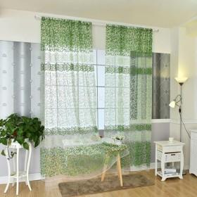 ノーブランド品リビング 寝室用 薄手 カーテン グリーン