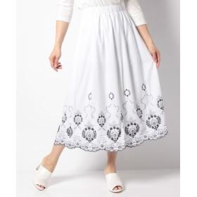 【70%OFF】ローズペッシュRose Peche 裾刺繍タックロングスカートレディースオフホワイトL【RosePeche】【セール開催中】