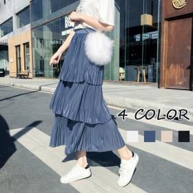 4color・ティアードスカート プリーツスカート ロング マキシ 85cm チュールスカート