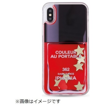iPhone X TPUケース Liquid Case Nailpolish StarsGlitter 14980 レッド