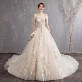 結婚式 花嫁 白 ウエディングドレス ロングドレス 演奏会 フォーマルドレス 着痩せカラードレスパーティードレスホワイト  Aライン