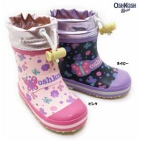 OSHKOSH OSK WR145R オシュコシュ ベビーサイズ レインシューズ 長靴 キープ付き 小花模様 裏ウレタン 防寒 防雪 防滑 子供用 女の子 女