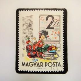 ハンガリー 童話切手ブローチ4826