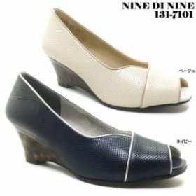NINE DI NINE No.131-7101 ナイン・デ・ナイン レディース パンプス ウェッジソール オープントゥ パンチング 3E EEE クッション性 靴