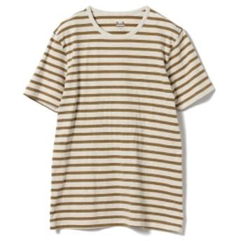 three dots / 別注 ボーダー クルーネック Tシャツ メンズ カットソー OATMEAL×MUSTARD/C S