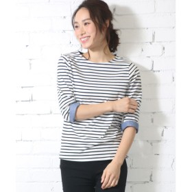 ミリアンデニ mili an deni 7分袖袖シャンブレー切替Tシャツ (白x黒)