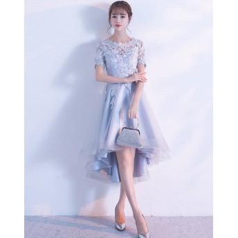パーティードレス ミモレ丈 結婚式 お呼ばれ ワンピース 二次会 袖あり 透け感 レース 大きいサイズ フォーマル イブニングドレス 韓国 オルチャン
