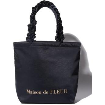 【10%OFF】 メゾンドフルール ヴィンテージサテンフリルトートMバッグ レディース ネイビー FREE 【Maison de FLEUR】 【タイムセール開催中】