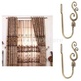 2ピースのU字型の金属製のブドウのカーテンのフックの窓ドレープのタイバックのハンガー