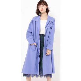 スタンドカラーAラインコート ブルー