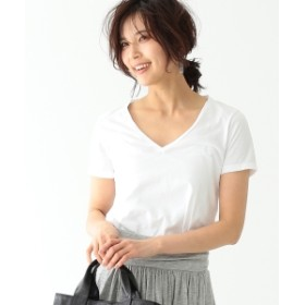 three dots / BRENDA VネックTシャツ レディース Tシャツ WHITE XS