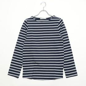 ミリアンデニ mili an deni 長袖袖シャンブレー切替Tシャツ (ネイビーxオフホワイト)