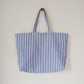 ハーフリネンのバッグ(よこ)/ストライプ