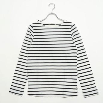 ミリアンデニ mili an deni 長袖袖シャンブレー切替Tシャツ (オフホワイトxブラック)