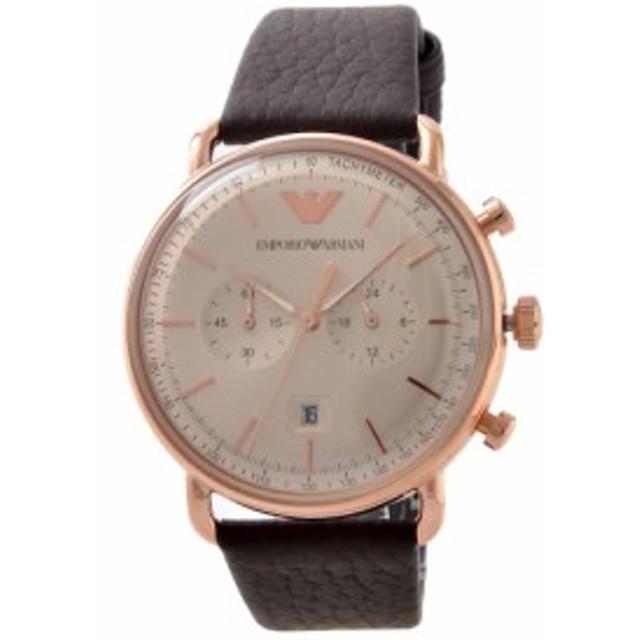 c3235c65f1 [即日発送]エンポリオアルマーニ メンズ 腕時計/EMPORIO ARMANI レザー クロノグラフ 腕時計 グレー