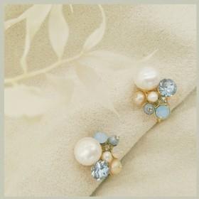 ハロー° °天然真珠のイヤリング 調整可能なスパイラルイヤリング