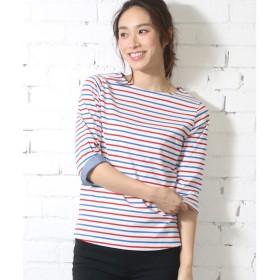 ミリアンデニ mili an deni 7分袖袖シャンブレー切替Tシャツ (白x赤x青)