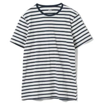 three dots / 別注 ボーダー クルーネック Tシャツ メンズ カットソー ASH×INDIGO/A L