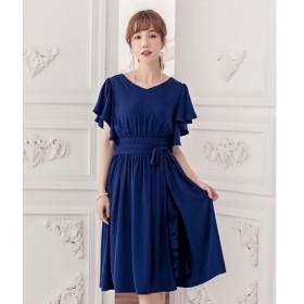 [マルイ] ウエストリボン付き巻きスカート風デザインフレアスリーブギャザーワンピース/ドレススター(DRESS STAR)