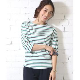 ミリアンデニ mili an deni 7分袖袖シャンブレー切替Tシャツ (白x緑x紺)