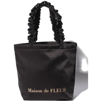 【10%OFF】 メゾンドフルール ヴィンテージサテンフリルトートMバッグ レディース ブラック FREE 【Maison de FLEUR】 【タイムセール開催中】