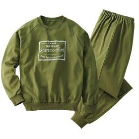 20%OFF【レディース】 綿100%Tタイププリントパジャマ(男女兼用) - セシール ■カラー:カーキ ■サイズ:5L,S