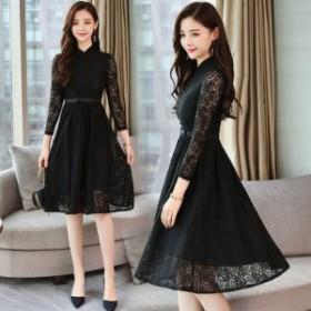 黒ワンピースドレス よそ行きワンピース 韓国 ワンピース ドレス レディース ひざ ミモレ丈 ドレス ドレス リボン ドレス ワンピース レ