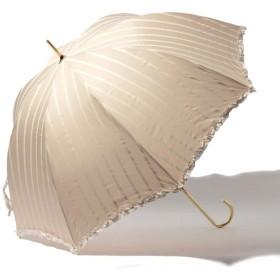 【50%OFF】 ピンクトリック 雨晴兼用 長傘 (UVカット&軽量) ストライプ レディース ベージュ×ホワイト F 【pink trick】 【タイムセール開催中】