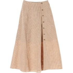【5,000円以上お買物で送料無料】チェック前釦スカート