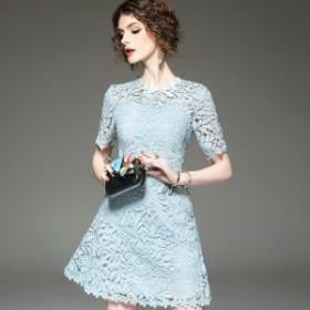 半袖 ミニドレス ワンピースドレス キャバドレス 清楚系 カジュアル ワンポイント 刺繍 ミニワンピース Aライン パーティー