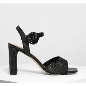 オーバーサイズバックル ヒールサンダル / Oversized Buckle Heeled Sandals (Black)