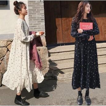韓国ファッション ドットワンピース ロングワンピース シフォン 長袖 カジュアル キレイめ おしゃれ
