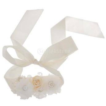 花嫁 ウェディングドレス ディアマンテ ラインストーン パールフラワー サッシュ ベルト アクセサリー 2