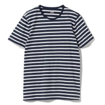 three dots / 別注 ボーダー クルーネック Tシャツ メンズ カットソー INDIGO×ASH/B L