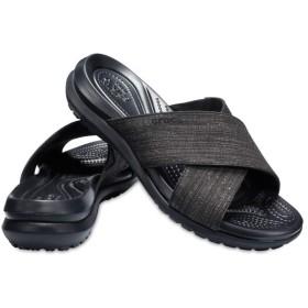【クロックス公式】 カプリ 5.0 シマー エックス バンド サンダル ウィメン Women's Capri Shimmer Cross-Band Sandal ウィメンズ、レディース、女性用 ブラック/黒 21cm,22cm sandal サンダル 20%OFF